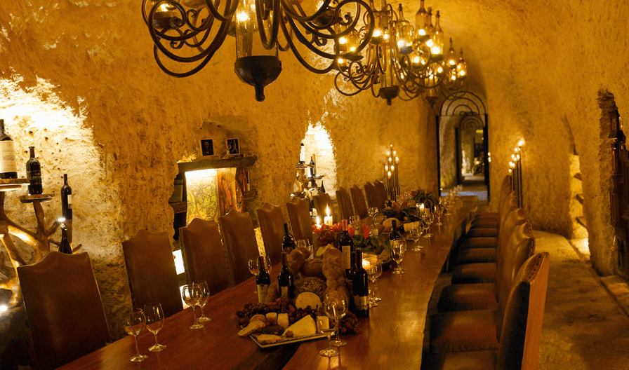 Table set in wine cellar at xcaret