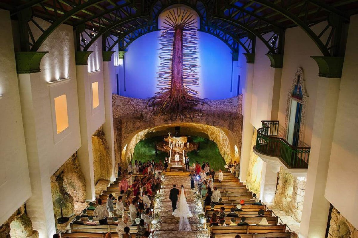 Wedding in a xcaret chapel